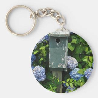 Hydrangeas and Bird Houses Keychain