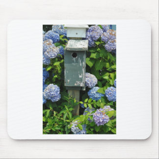 Hydrangeas and Bird Houses Mouse Pad