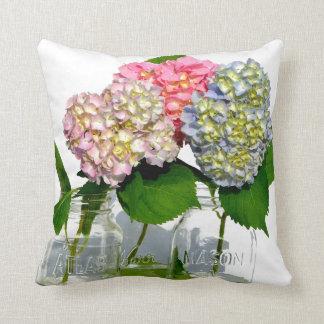 Hydrangeas and Mason jar Throw Pillow