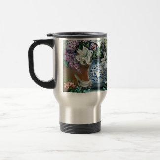 Hydrangeas and White Lillies 15 Oz Stainless Steel Travel Mug