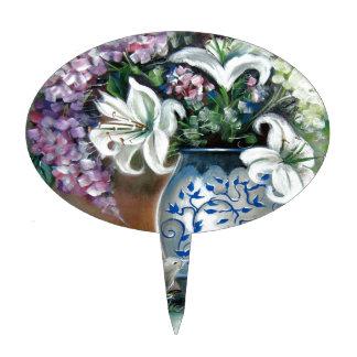 Hydrangeas and White Lillies Cake Picks