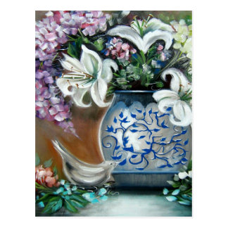 Hydrangeas and White Lillies Postcard