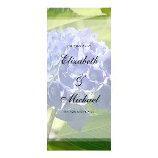 """Hydrangeas azules que casan programa folleto publicitario 4"""" x 9"""""""
