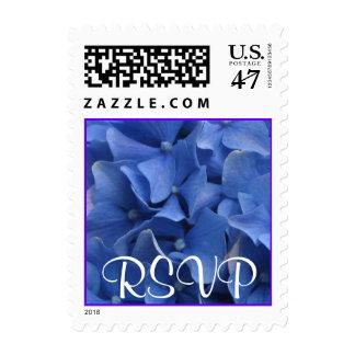 Hydrangeas azules timbres postales