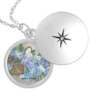Hydrangeas basket round locket necklace