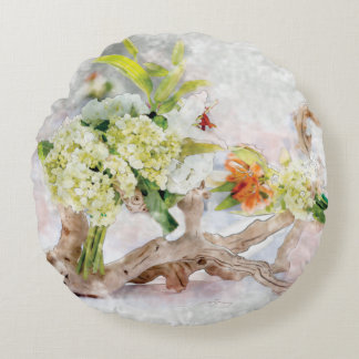 "Hydrangeas Bella Watercolor Round Pillow (16"")"