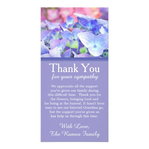 Hydrangeas bereavement sympathy thank you card photo card for Thank you note for condolence gift
