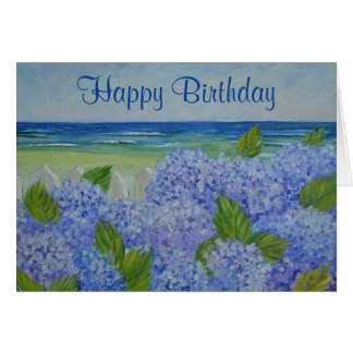 Hydrangeas By The Sea Birthday Card