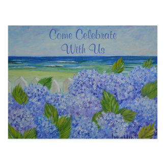 Hydrangeas By The Sea Invitation Postcard