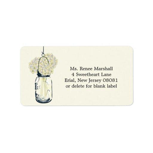 Hydrangeas colgantes rústicos del tarro de albañil etiquetas de dirección