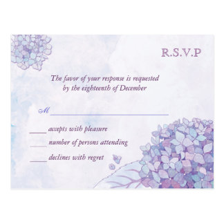 Hydrangeas de la lavanda que casan las tarjetas de postal