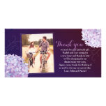 Hydrangeas Deep Purple Wedding Photo Thank You Photo Card