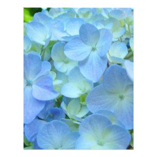 Hydrangeas florales de papel del azul del tema de  plantillas de membrete