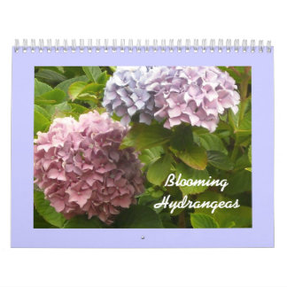 Hydrangeas florecientes calendario de pared