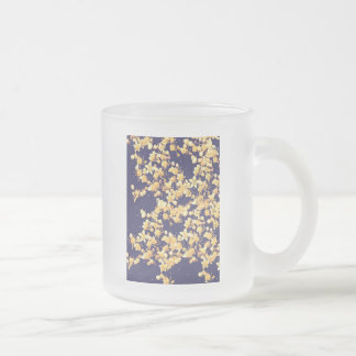hydrangeas gold and night frosted glass coffee mug