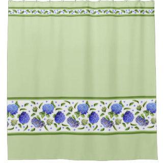 hydrangeas green shower curtain