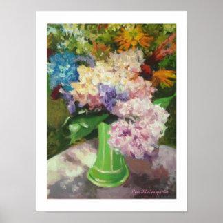 Hydrangeas in a Green Vase Poster