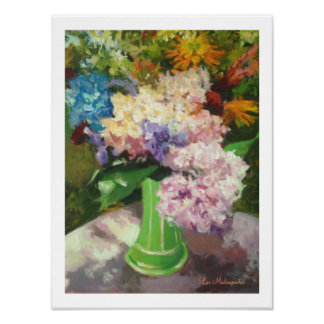 Hydrangeas in a green vase with border poster