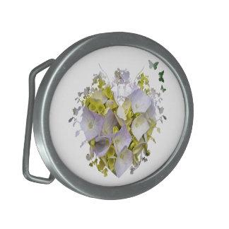 Hydrangeas in a Heart Cutout Oval Belt Buckle