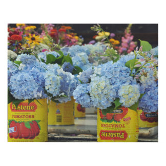 Hydrangeas in tomato cans at the Farmers Market Panel Wall Art