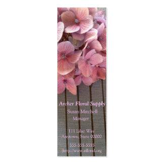 Hydrangeas on a 1915 book bookmark business card