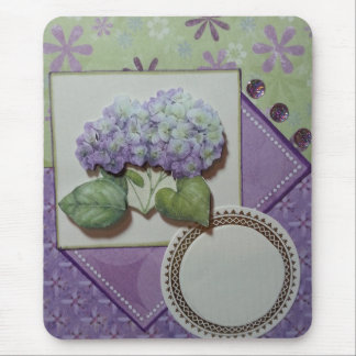 hydrangeas on greens and purples mouse pad
