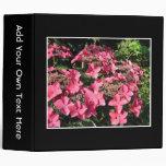 Hydrangeas. Pink Flowers on Black. Binder