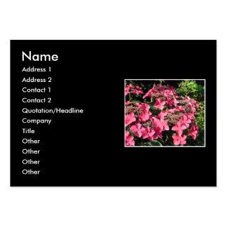 Hydrangeas. Pink Flowers on Black. Business Card Template