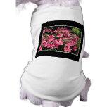 Hydrangeas. Pink Flowers on Black. Dog Tee Shirt