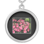 Hydrangeas. Pink Flowers on Black. Jewelry