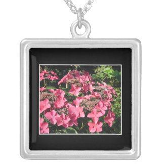 Hydrangeas. Pink Flowers on Black. Square Pendant Necklace