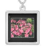 Hydrangeas. Pink Flowers on Black. Necklaces