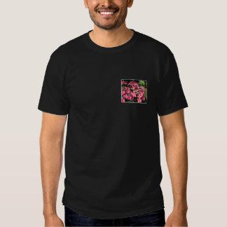 Hydrangeas. Pink Flowers on Black. T-Shirt