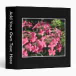 Hydrangeas. Pink Flowers on Black. Vinyl Binders