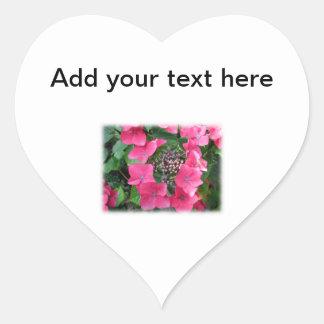 Hydrangeas. Pink Flowers. White. Heart Sticker