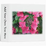 Hydrangeas. Pink Flowers. White. Vinyl Binder