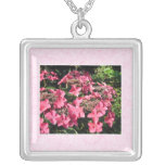 Hydrangeas. Pretty Pink Flowers. Necklace