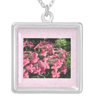Hydrangeas. Pretty Pink Flowers. Square Pendant Necklace