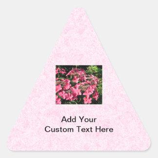 Hydrangeas. Pretty Pink Flowers. Triangle Sticker