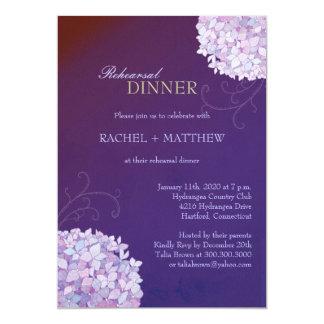 Hydrangeas Purple Wedding Rehearsal Dinner Invites