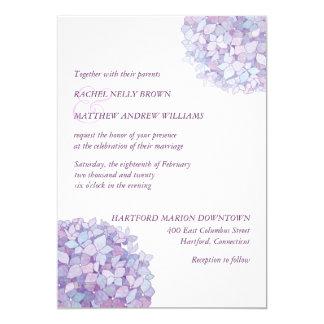 Hydrangeas púrpuras de moda simples que casan la invitación 12,7 x 17,8 cm