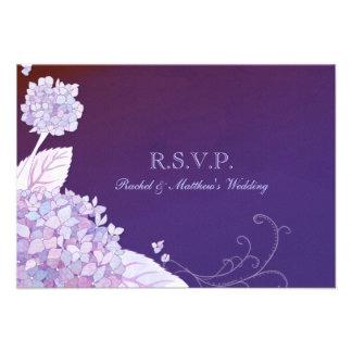 Hydrangeas púrpuras del jardín que casan RSVP (3.5 Comunicado