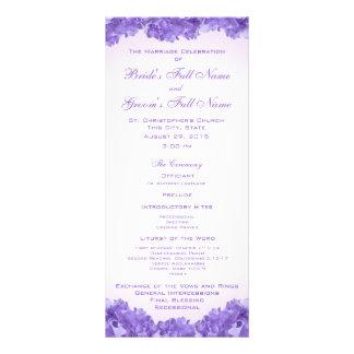 """Hydrangeas púrpuras que casan programa folleto publicitario 4"""" x 9"""""""