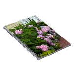 Hydrangeas rosados del ladrillo cuaderno