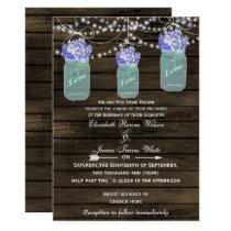 hydrangeas Rustic mason jar wedding invites