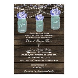 hydrangeas Rustic mason jar wedding invites