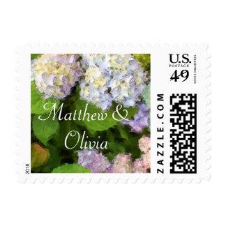 Hydrangeas Watercolor Wedding Stamp