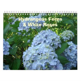 HYDRANGEAS White Roses Ferns Calendar Teacher