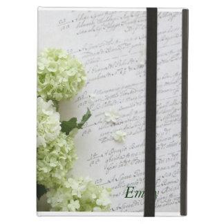 hydrangeas with script writing iPad kickstand case iPad Folio Case
