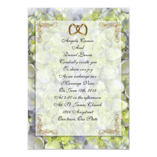 Hydrangeas y cordón de la invitación del boda